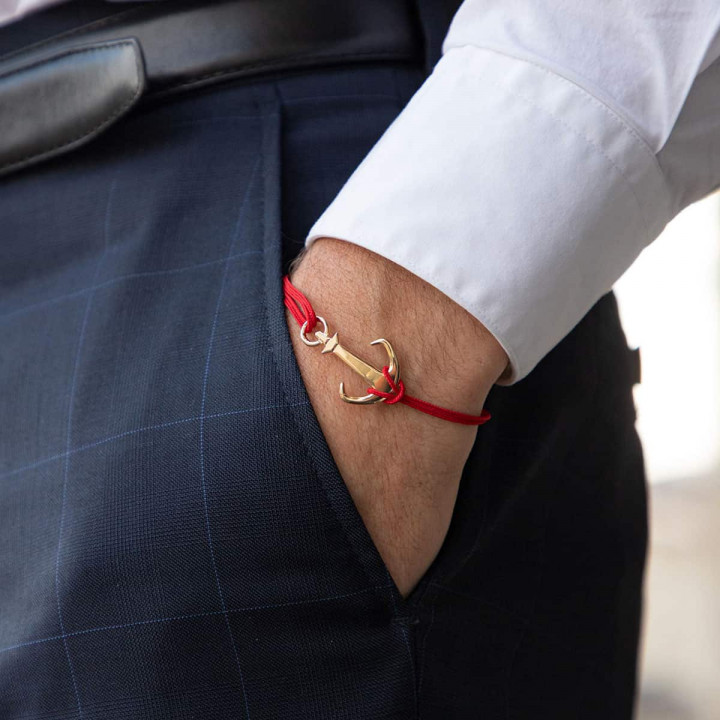 Gold-plated tie bracelet with Marine anchor for men