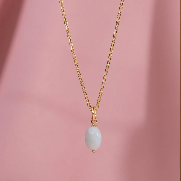 Gold-plated chain necklace with Amazonite stone
