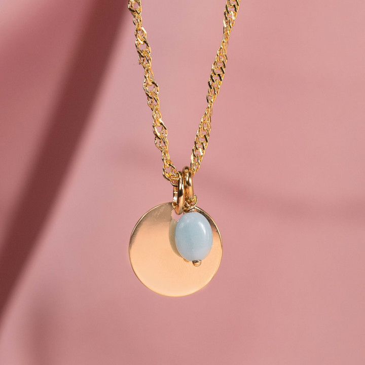 Gold-plated thick twisted chain necklace with medal & Amazonite