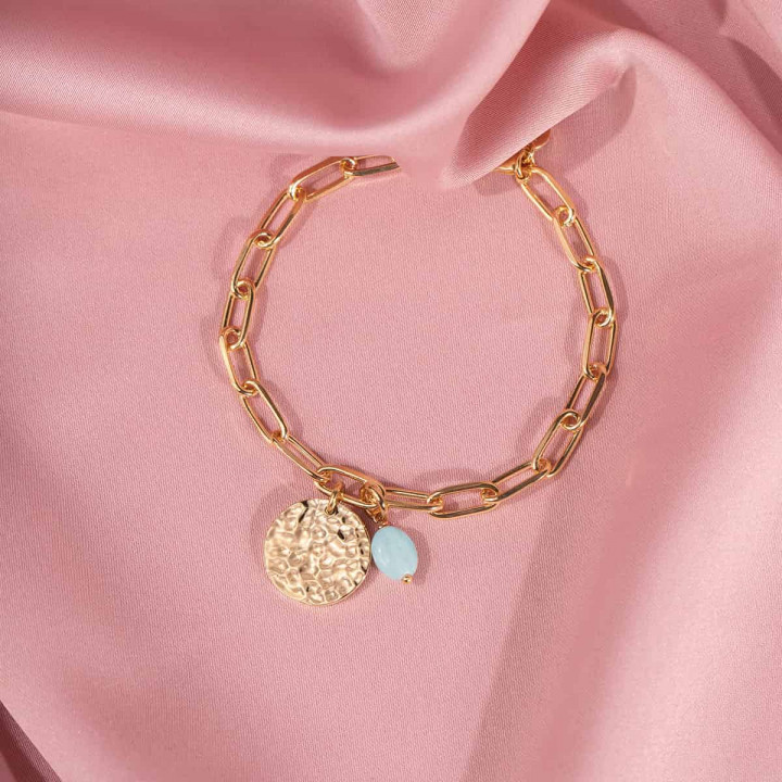 Gold-plated large link bracelet with hammered medal & Amazonite