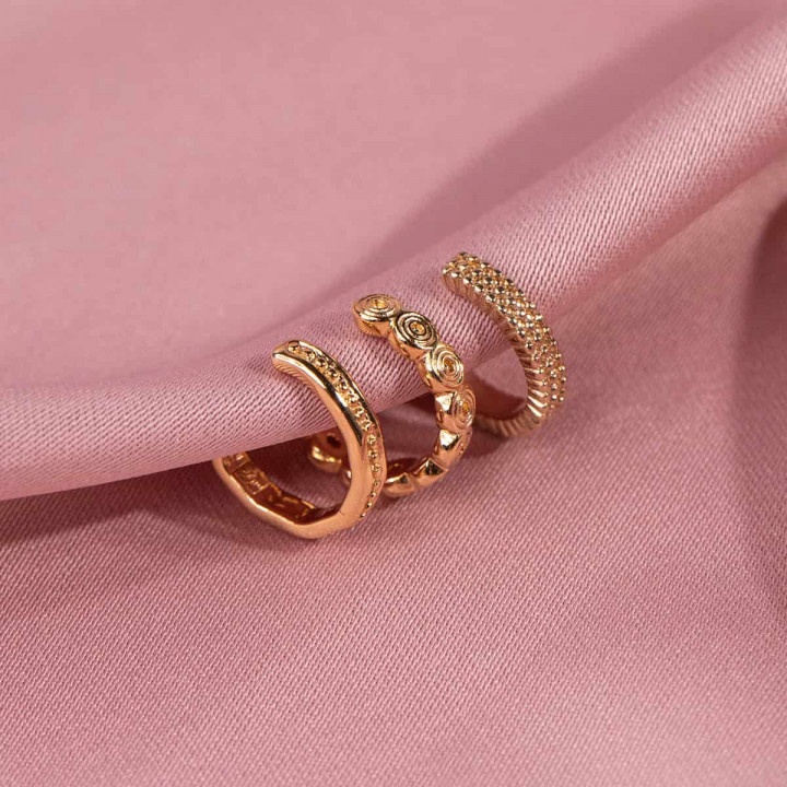 Gold-plated [Single] three beads row open earring