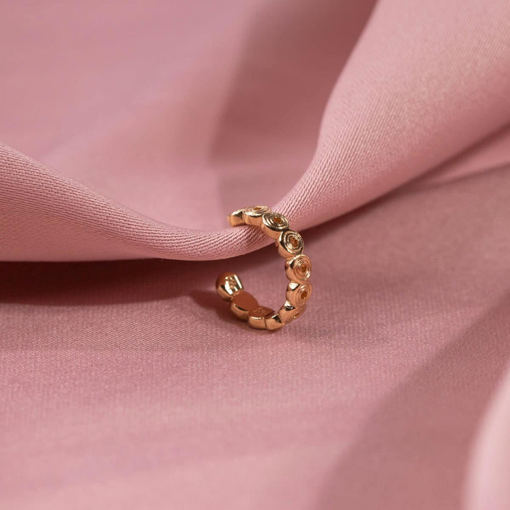 Gold-plated [Single] Ethnic circles open earring