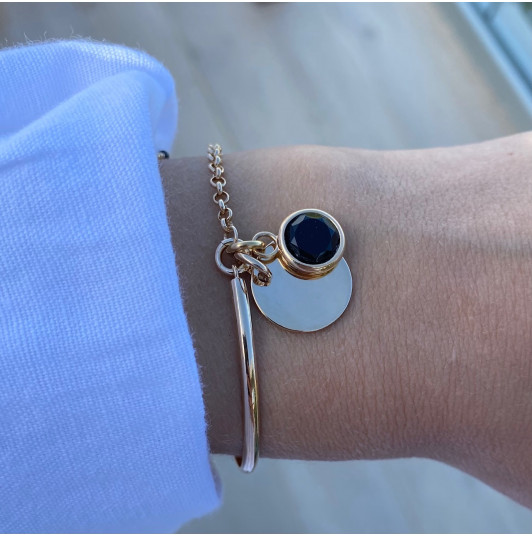 Half bangle and chain bracelet with medal & pendant