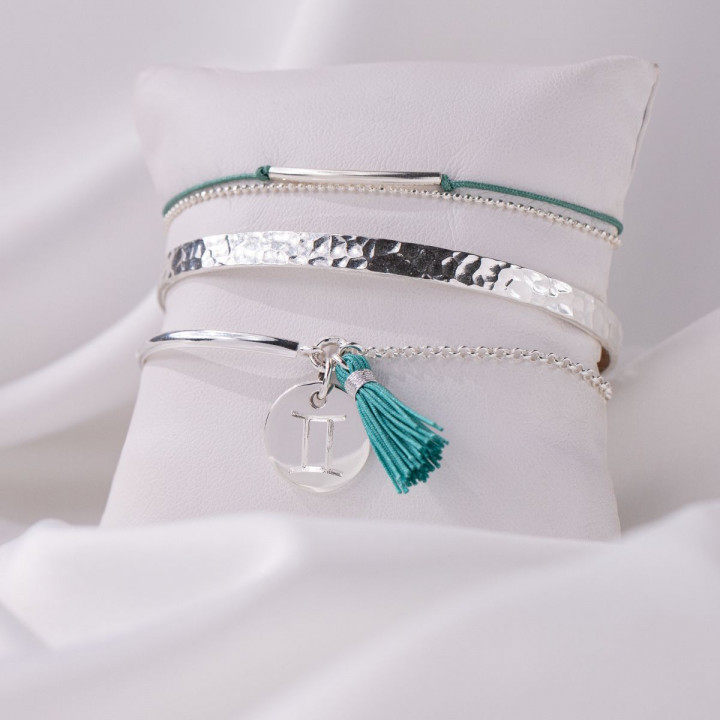 925 silver half bangle and chain bracelet with engraved astrological sign & pompom