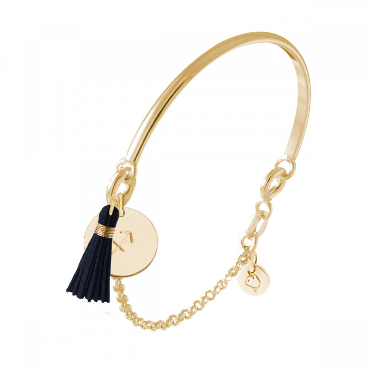 Gold-plated half bangle and chain bracelet with engraved astrological sign & pompom
