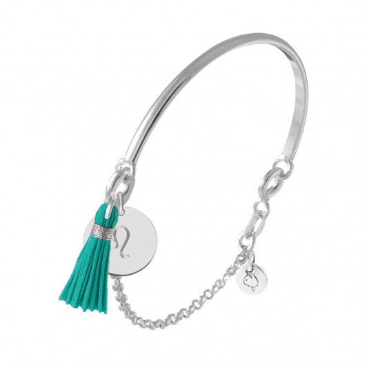 Half bangle and chain bracelet with engraved astrological sign & pompom