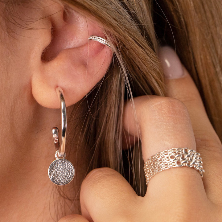 925 Silver large & thick hoop earrings with textured medal