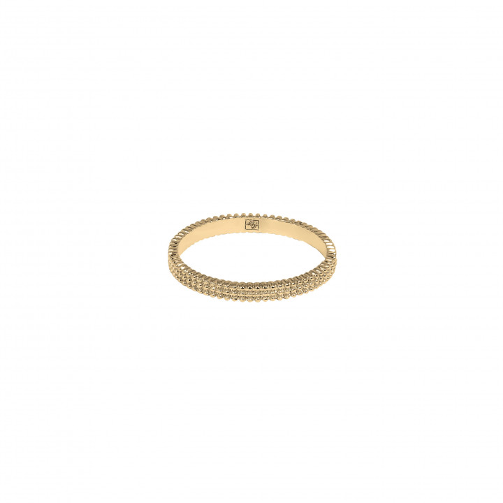 Gold-plated band ring with 3 rows of beads
