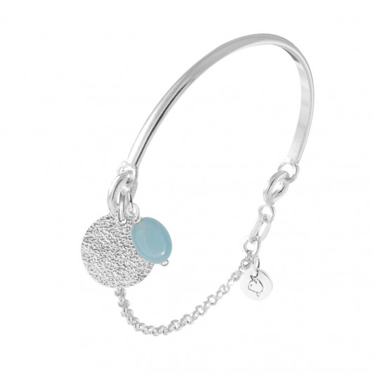 Half bangle and chain bracelet with granite medal & oval Amazonite