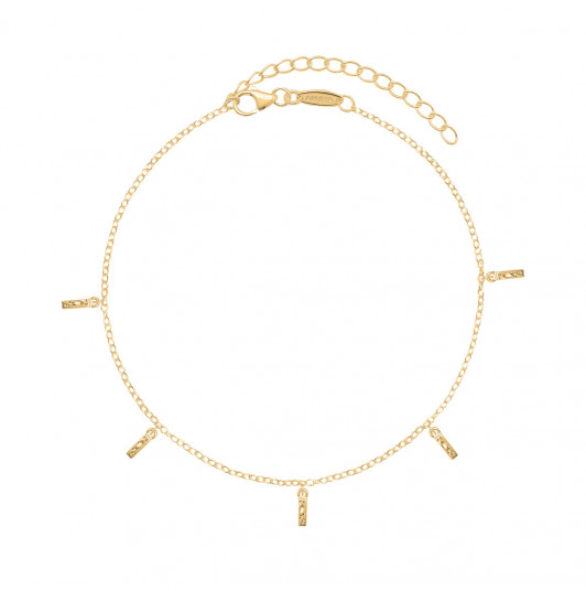 Chain anklet with hanging hammered rods