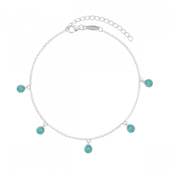 925 Silver chain anklet with Amazonite beads