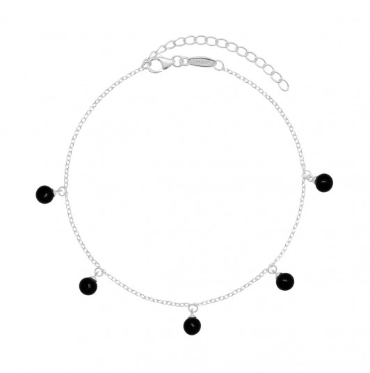 Chain anklet with Onyx beads