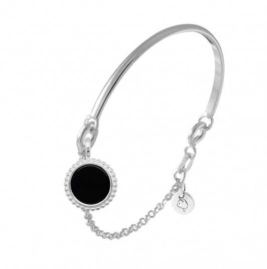 Half bangle and chain bracelet with beaded Onyx medal