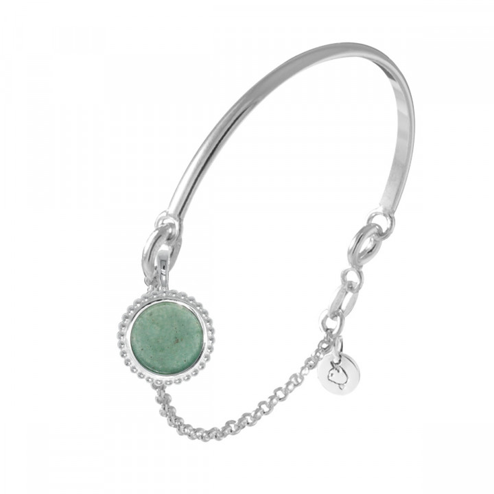 925 Silver half bangle and chain bracelet with beaded Aventurine medal