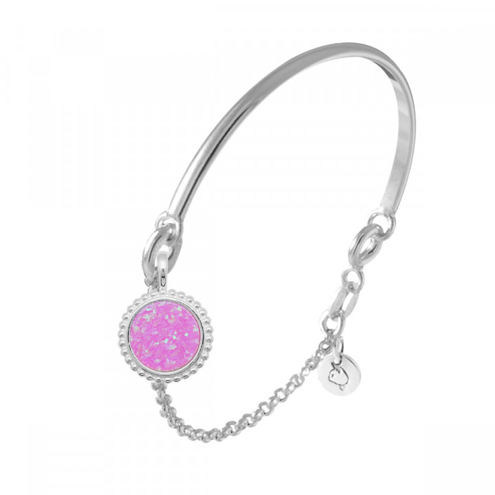925 Silver half bangle and chain bracelet with beaded pink Opal medal