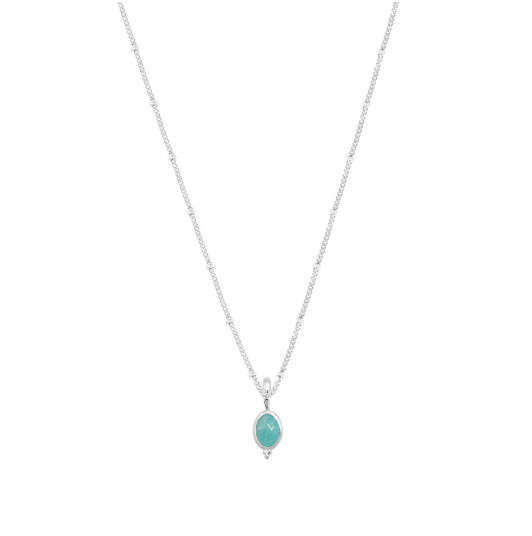 Flat beaded chain necklace & beaded oval Amazonite