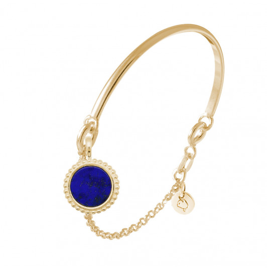 Half bangle and chain bracelet with beaded Lapis Lazuli medal