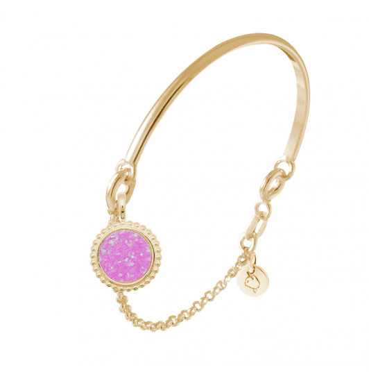 Half bangle and chain bracelet with beaded pink Opal medal