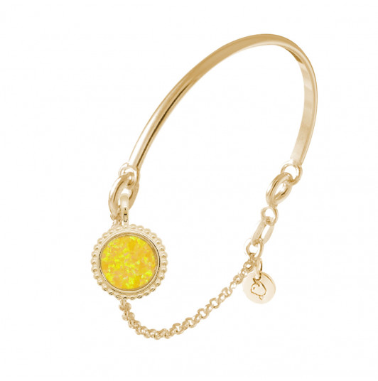 Half bangle and chain bracelet with beaded yellow Opal medal