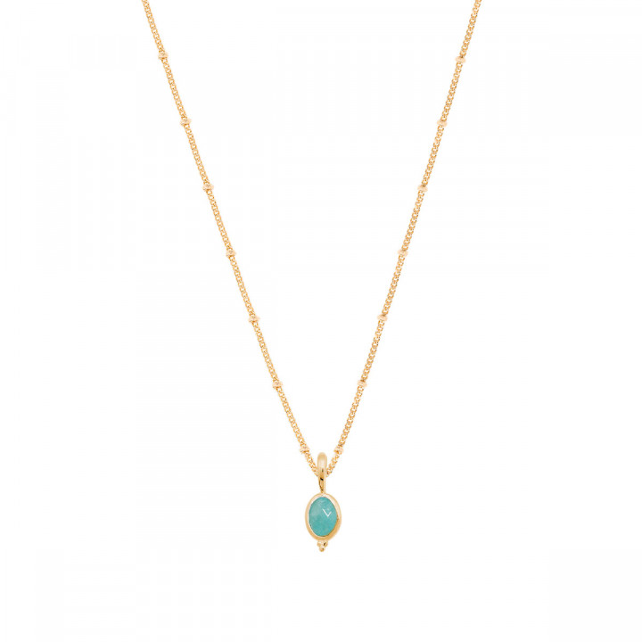 Gold-plated flat beaded chain necklace & beaded oval Amazonite