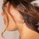 925 Silver thick & textured large hoop earrings