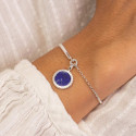 925 Silver half bangle and chain bracelet with beaded Lapis Lazuli medal