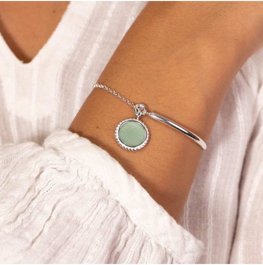 Half bangle and chain bracelet with beaded Aventurine medal