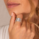925 Silver large textured tube ring