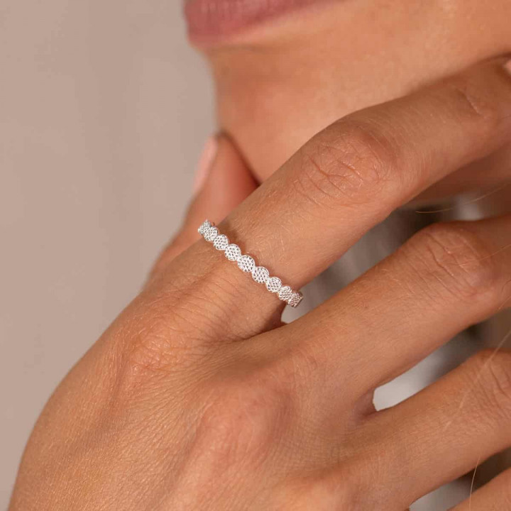 925 Silver textured feston band ring