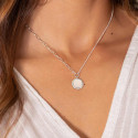 925 Silver large link chain necklace with beaded Nacre medal