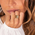 Gold-plated large textured tube ring