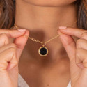 Gold-plated large link chain necklace with beaded Onyx medal