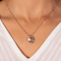 Rose gold-plated twisted thick chain necklace with Maya medal & gemstone