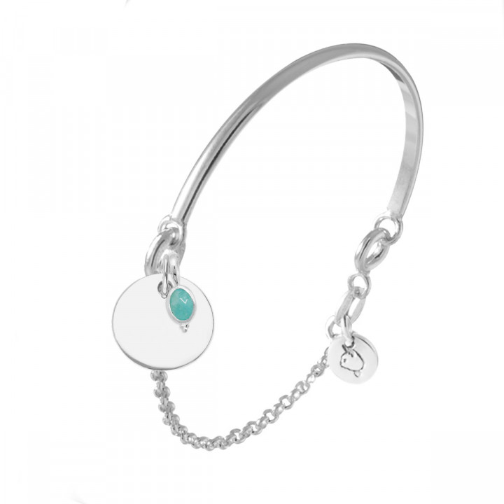 925 Silver half bangle and chain bracelet with medal & beaded oval Amazonite