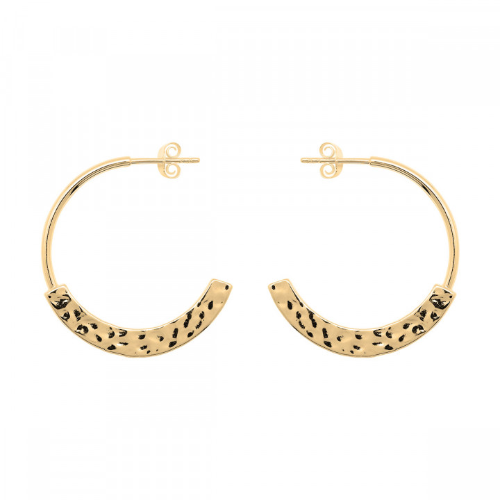 Gold-plated thick & hammered large hoop earrings