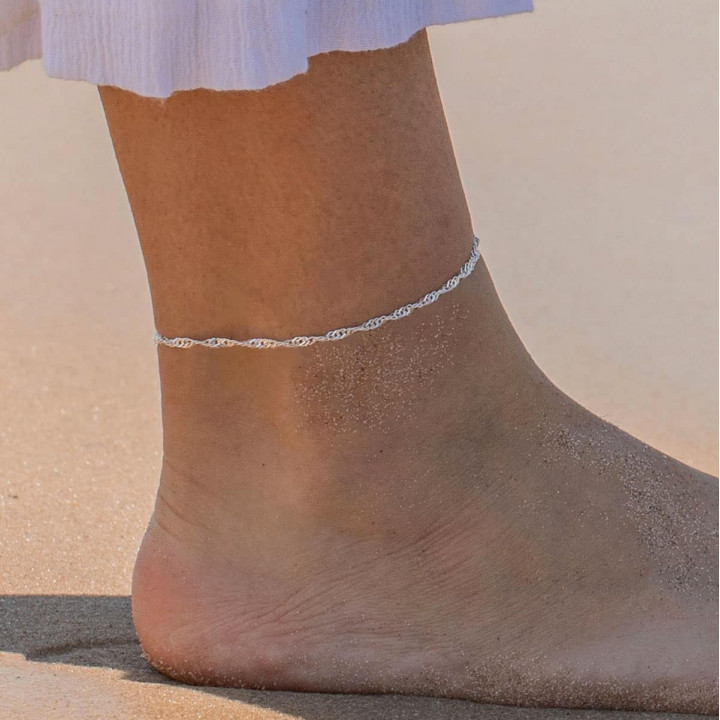 925 Silver twisted chain anklet