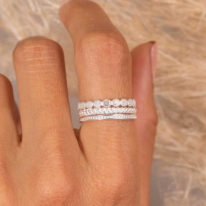 925 Silver braided ring set
