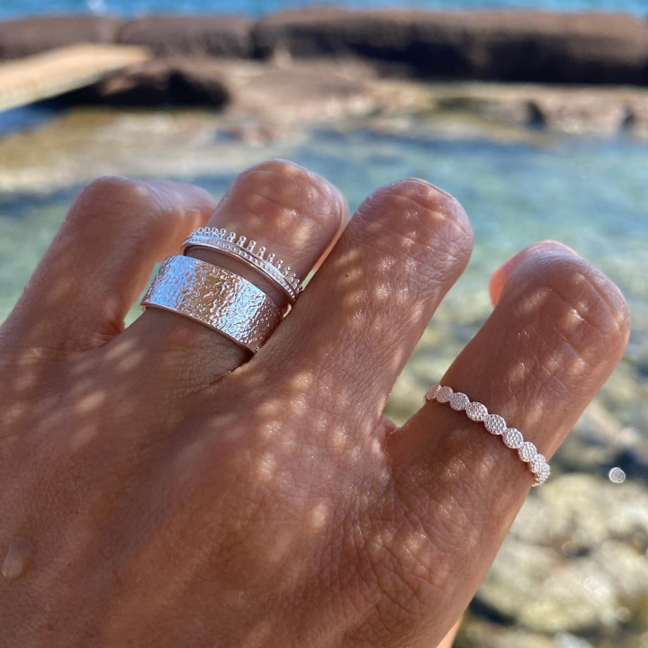 925 Silver textured tube ring