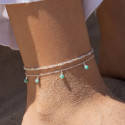 925 Silver Amazonite chain anklet set