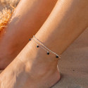 925 Silver chain anklet with Onyx beads
