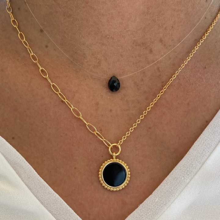 Gold-plated Beaded & drop Onyx necklace set