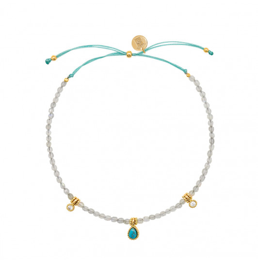 Silky thread bracelet with Labradorite beads & Turquoise medal