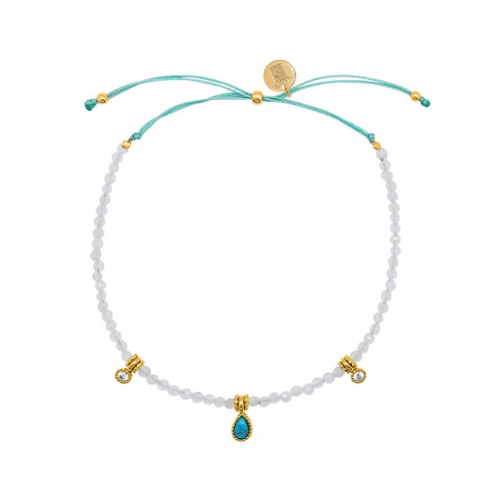 Silky thread bracelet with Moonstone beads & Turquoise medal