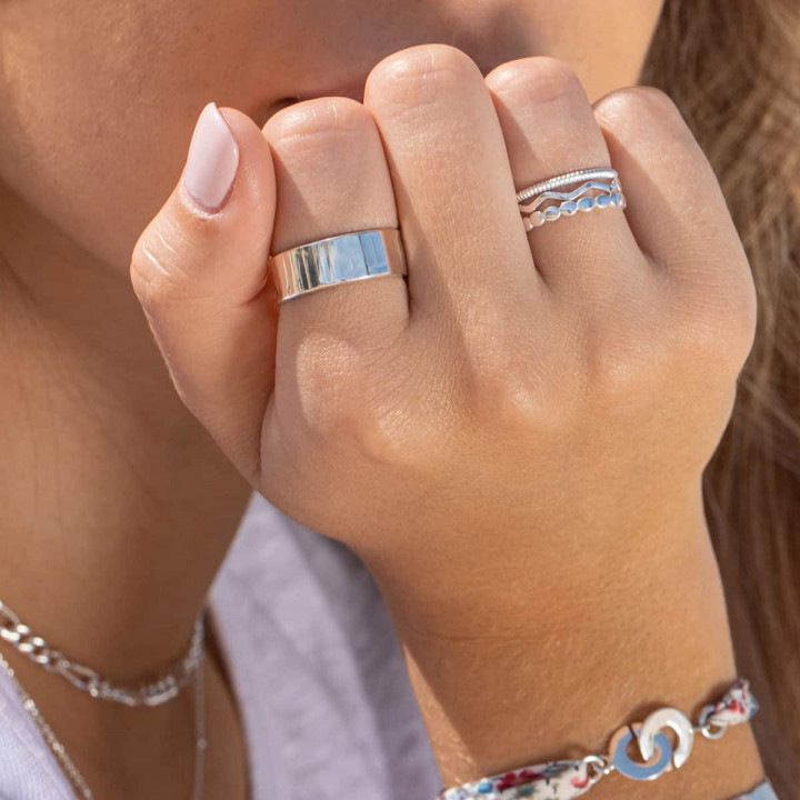 925 Silver ajustable ring with striated tube