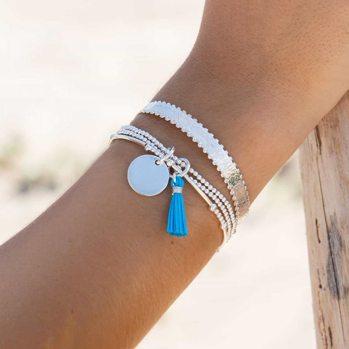 925 Silver triple beaded bracelet with medal and pompom