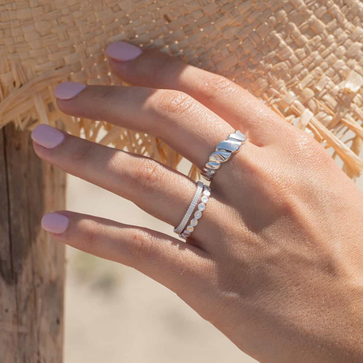 925 Silver band ring with 3 rows of beads