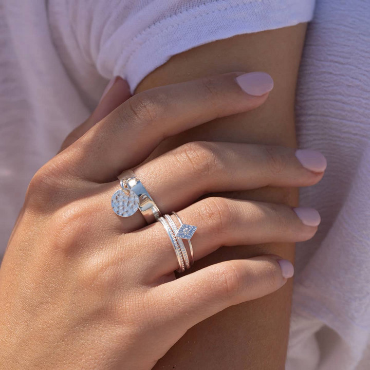 925 Silver crown band ring