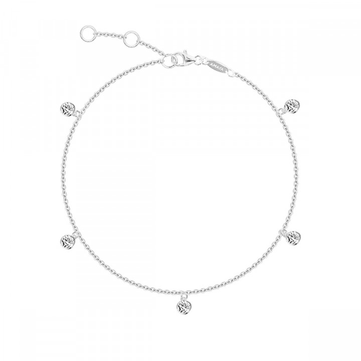 925 Silver 5 mini textured medals chain bracelet