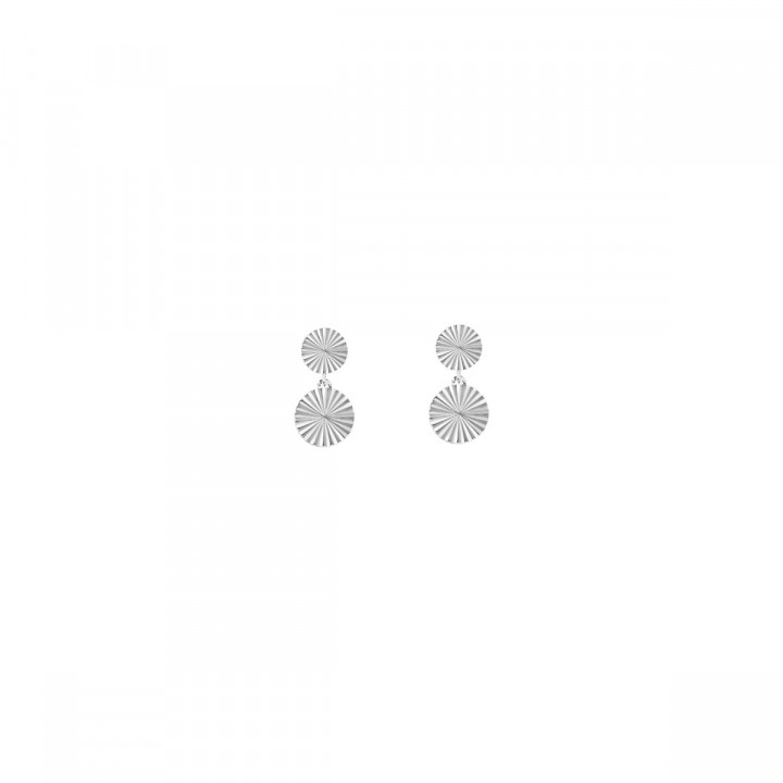 925 Silver stud earrings with striated medals