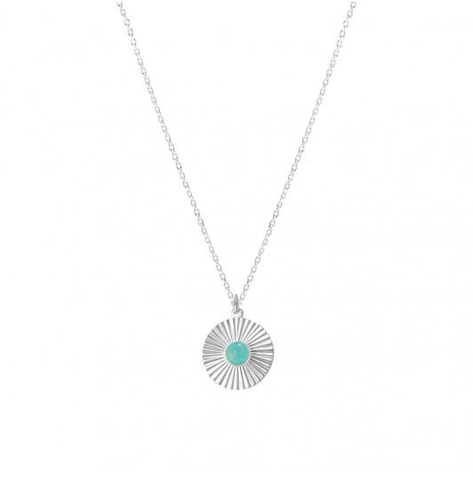 Chain necklace with amazonite striated medal